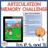 """Articulation Memory Challenge! Speech Therapy for s, r, and """"th"""""""