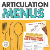 Articulation Menus for Speech Therapy - Great for carryover and conversation!