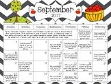Articulation Monthly Homework Calendar: August 2017- July 2018