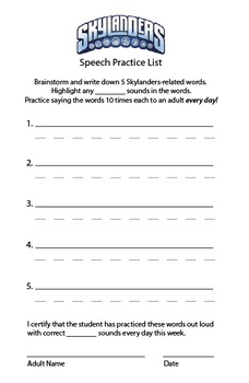 Articulation - Motivating Home Practice Sheets