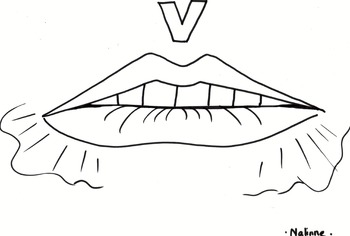 Articulation Mouth Coloring Pages - V - Phonology