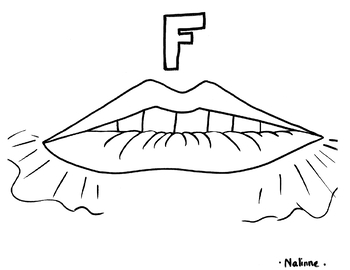 Articulation Mouth - F - Coloring Page - Phonology