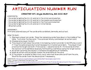 Articulation Number Run for /R/, /L/, and /S/