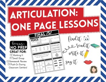 Articulation One Page Lessons [Early Developing Sounds]