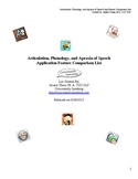 Articulation, Phonology, and Apraxia of Speech Features Comparison List