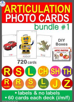 Articulation Photo Cards Bundle /R S L CH SH TH J Z/ Blends Pre/Vocalic R