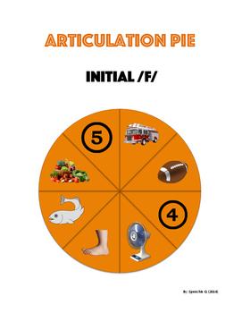 Articulation Pie : Initial sounds: f, l, s, r, ch, sh, z, j, v, th