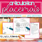Articulation Placemats: Homework Sheets and Drill Activities Bundle 2