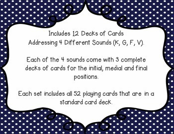 Articulation Playing Cards - Set 1 (K, G, F, V)