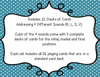 Articulation Playing Cards - Set 2 (R, L, S, Z)
