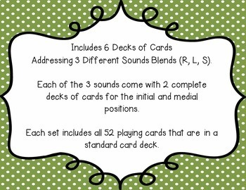 Articulation Playing Cards - Set 4 (R, S, L Blends)