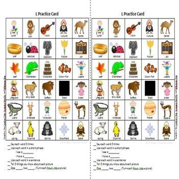 Articulation Practice Card /L/ and /L/ Blend