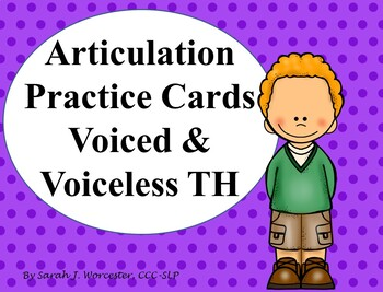 Articulation Practice Card Voiced and Voiceless /th/