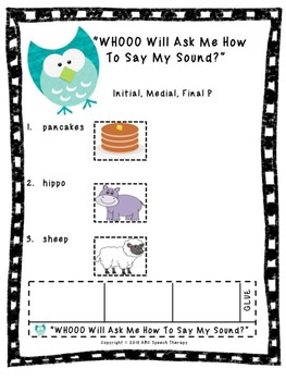 """Articulation Practice """"WHOOO Will Ask Me To Say My Sound?"""" Wristband"""