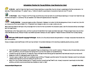 Articulation Practice for Young Children