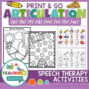 Articulation Activities Print & Go - P,B,T,D,M,N,H,W