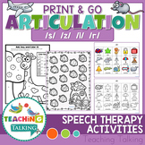 Articulation Activities Print & Go - S, Z, R & L