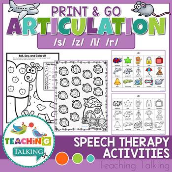 Articulation Activities Print & Go - S, Z, R & L