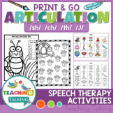 Articulation Activities Print & Go - SH, CH, TH, J