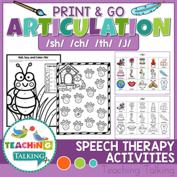 Articulation Activities Print & Go - SH, CH, TH, J