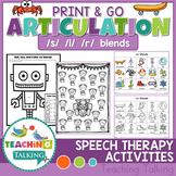 Articulation Activities Print & Go - S,L & R Blends