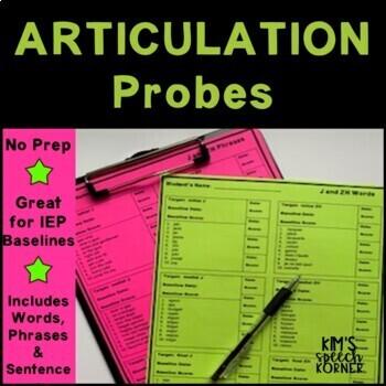 Articulation Activities - Words/Phrases/Sentences Probes - Print & Go