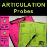 Articulation Activities - Words/Phrases/Sentences IEP Probes - Print and Go