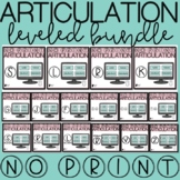 No Print Articulation Leveled Bundle | No Print Speech Therapy Distance Learning