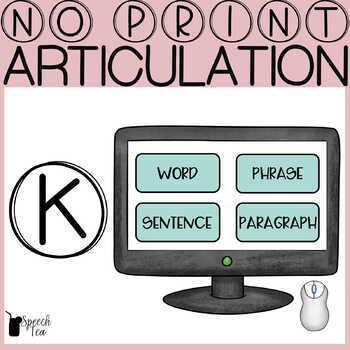 Articulation Progress Monitoring Tool- /K/ NO PRINT