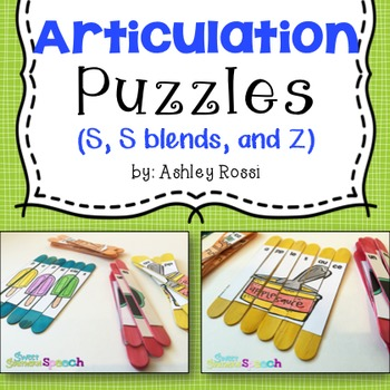 Articulation Puzzles S, Z For Speech Therapy