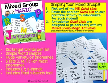 Articulation Quick Lists for Mixed Groups in Speech Therapy