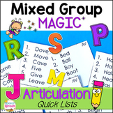 Articulation Quick Lists for Speech Therapy Mixed Groups