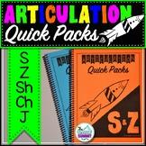 Articulation Quick Packs: S, Z, Sh, Ch, & J