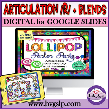 Articulation R and R Blends in All Positions Lollipop Parlor Party - Teletherapy