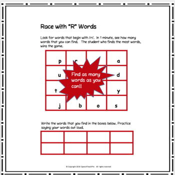 Articulation: Race with R Words