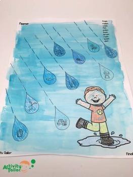 Spring Worksheets for Articulation:  Raindrops