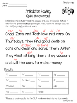 Articulation Reading Quick Assessment {Freebie}
