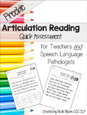 Articulation Reading Quick Assessment {Freebie}