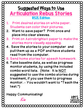 Articulation Activities - Rebus Stories - K, G, F, and V - Print and Go