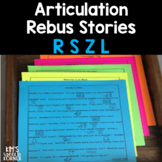 Articulation Activities - Rebus Stories - R, S, Z, and L - Print and Go
