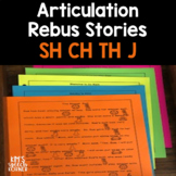 Articulation Activities - Rebus Stories - SH, CH, TH, and J - Print and Go