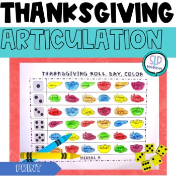 Thanksgiving NO PREP Articulation Roll Say Color - Sound Practice Speech Therapy