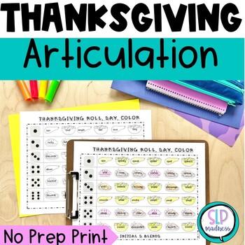 Thanksgiving NO PREP Articulation Roll Say Color - Sound P