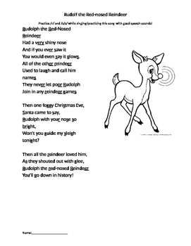 image about Words to Rudolph the Red Nosed Reindeer Printable identified as Rudolph The Purple Nosed Reindeer Lyrics Worksheets Instruction