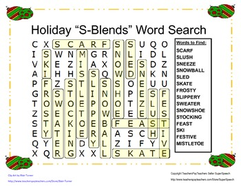 Articulation S-Blend Holiday Word Search