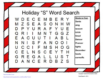 Articulation S Holiday Word Search