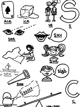 Articulation - /S/ - Syllable All Position - Coloring Page and Poster - Phonolog