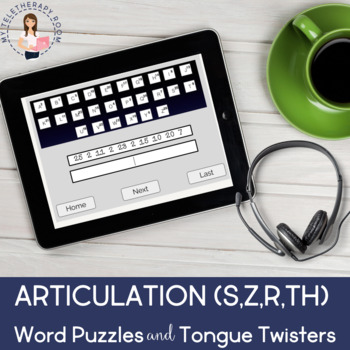 Articulation (S/Z,R,TH) Word Puzzles & Tongue Twisters (Boom Cards)