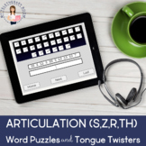 Articulation (S/Z,R,TH) Word Puzzles & Tongue Twisters