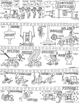 Articulation - SH Final Sound - Coloring Sheet - Phonology